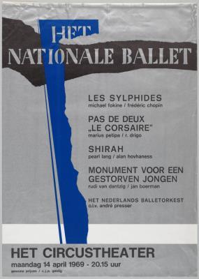 B1969-033.jpg; B1969-033; Les Sylphides; Pas de deux Le Corsaire; Shirah; Monument voor een gestorven jongen; affiche